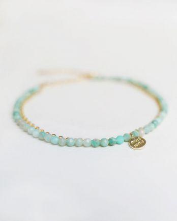 F- bracelet double chain amazonite gold pl.
