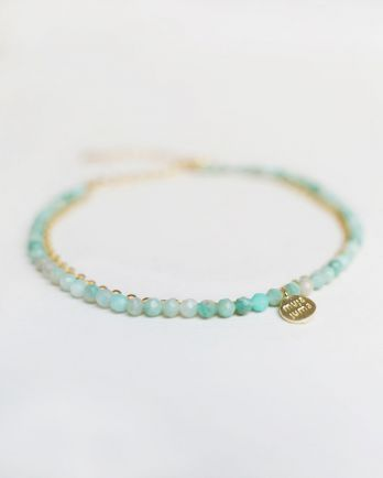 F- bracelet double chain amazonite gold pl.