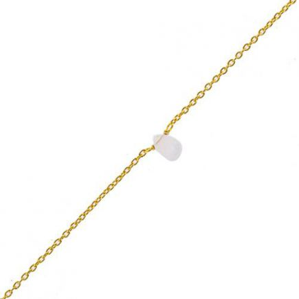 F- bracelet white moonst. drop and 2mm pearl gold pl.