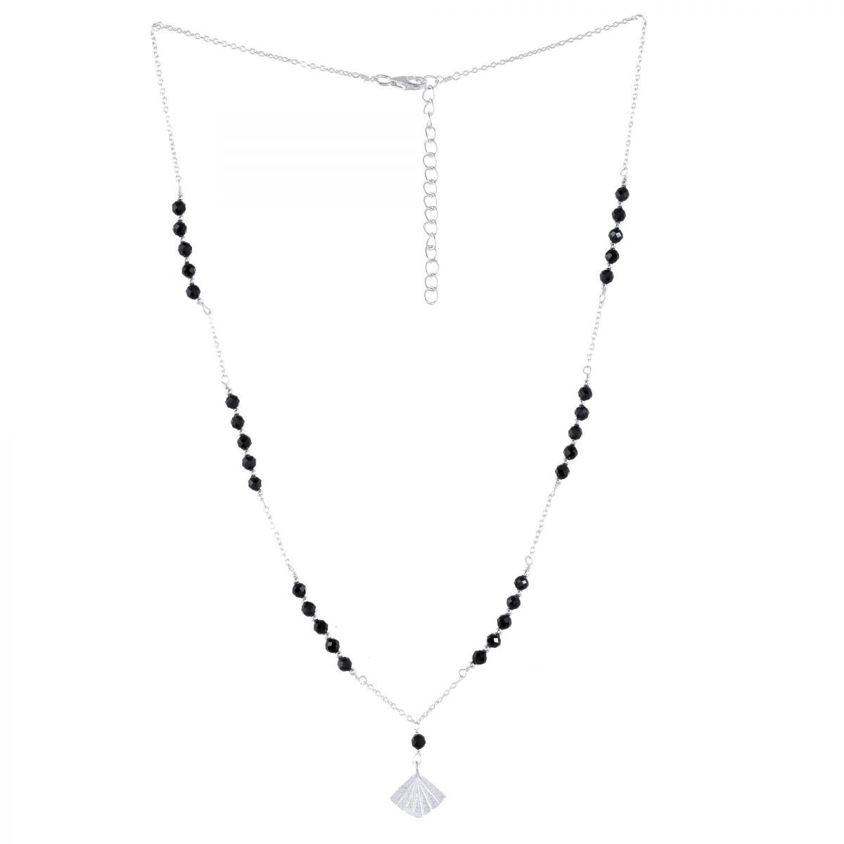 fcollier black agate beads with flabellete