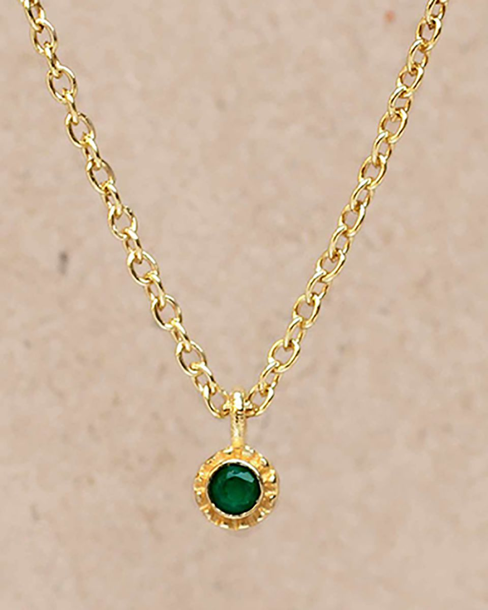 fcollier green agate round with stone gold plated 55cm