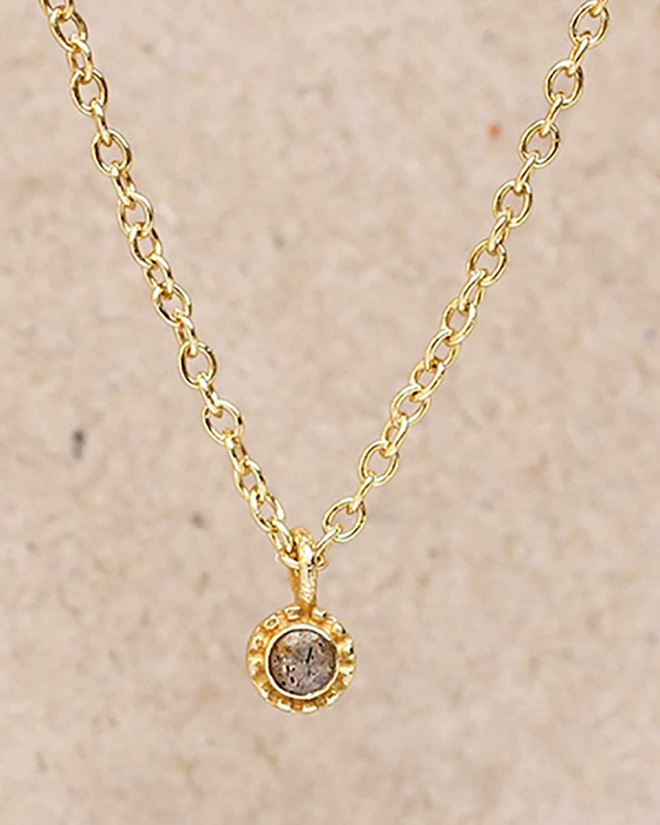 fcollier labradorite round with stone gold plated 55cm