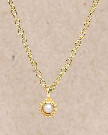 F-collier white pearl round with stone gold plated - 55cm