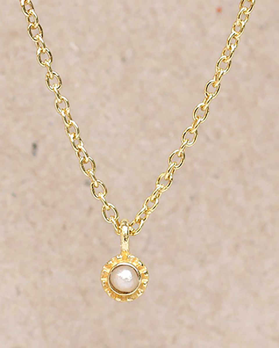 fcollier white pearl round with stone gold plated 55cm