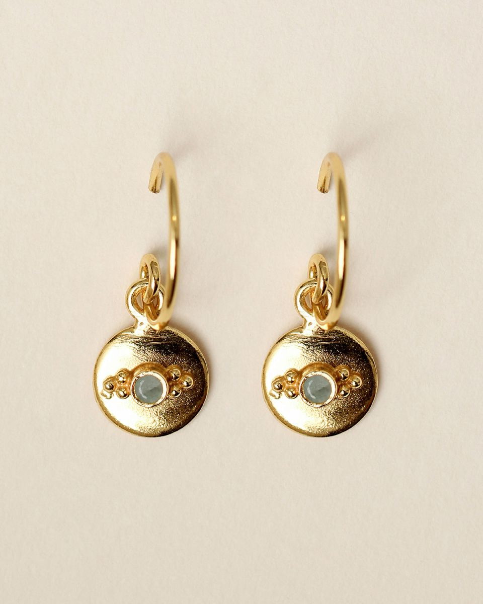 f earring 8mm coin dots amazonite gold plated