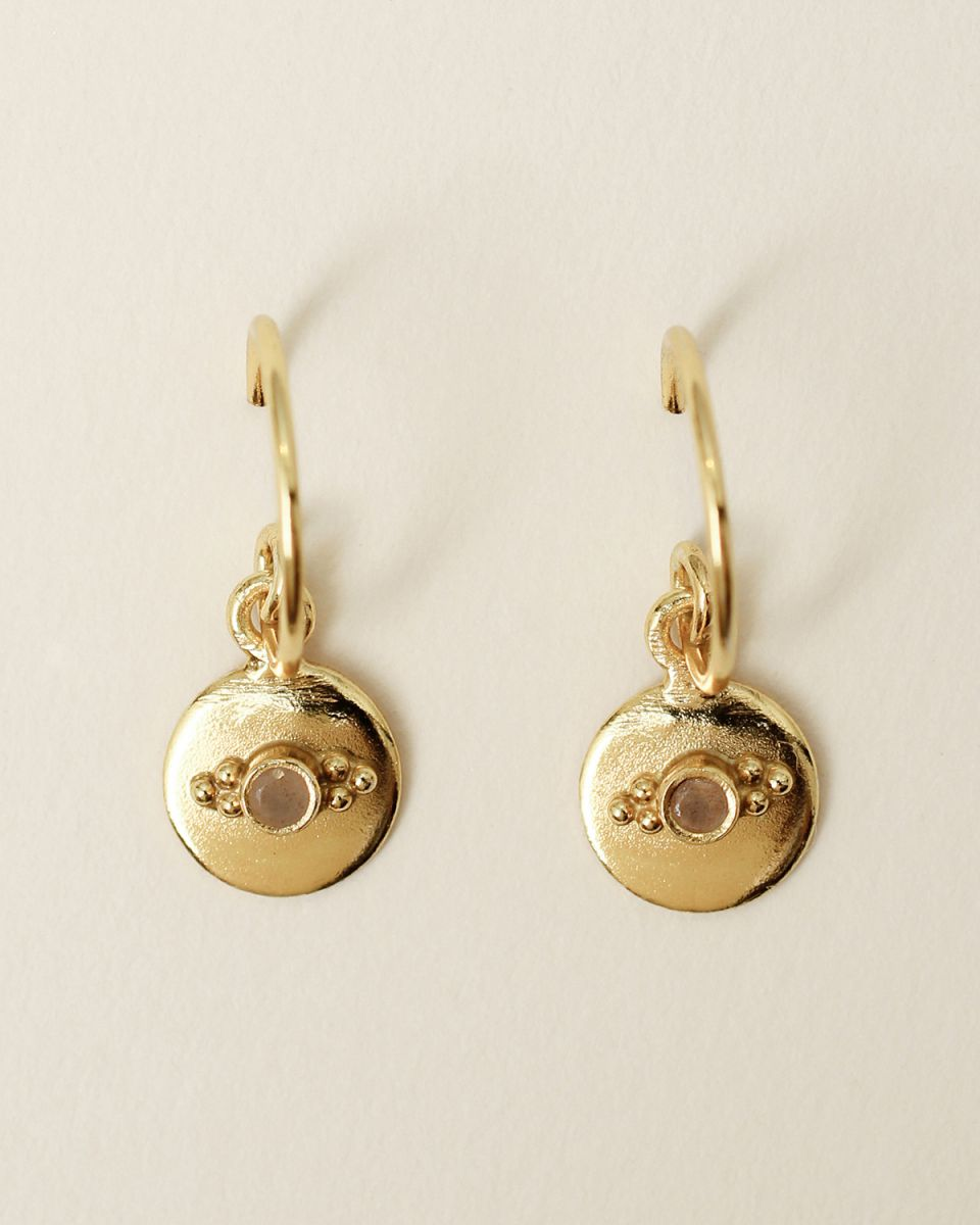 f earring 8mm coin dots peach moonstone gold plated