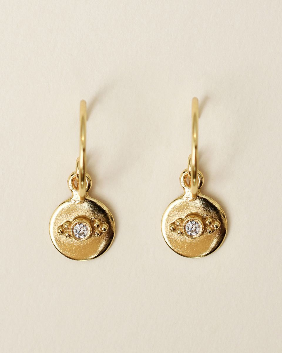 f earring 8mm coin dots zirkonia gold plated