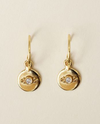 F- earring 8mm coin dots zirkonia gold plated