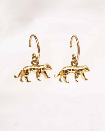 F- earring cheetah gold plated