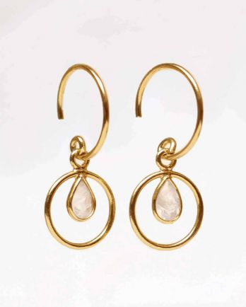 F-earring geo round with moonstone gold plated