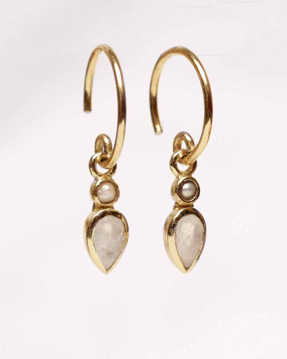 f earring stud drop 2mm pearlwhite moonstone gold pl