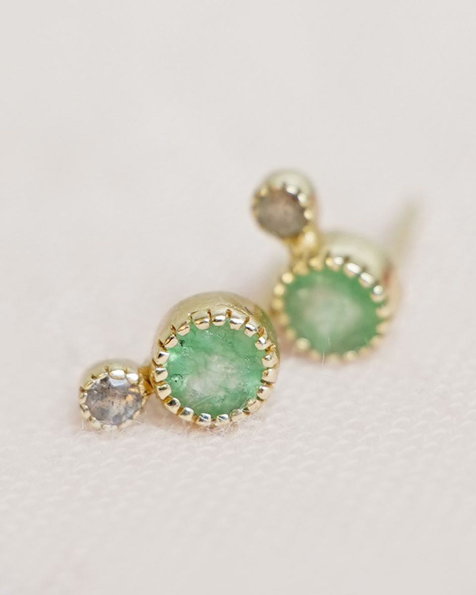 f earring stud nefrite labradorite gold plated