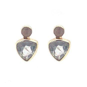 Earring stud triangle + 2mm dot