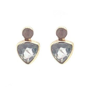 Earring stud triangle + 2mm dot