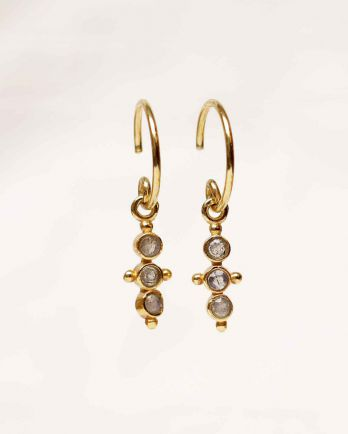 F- earring three little hanging labradorite stones g. pl.