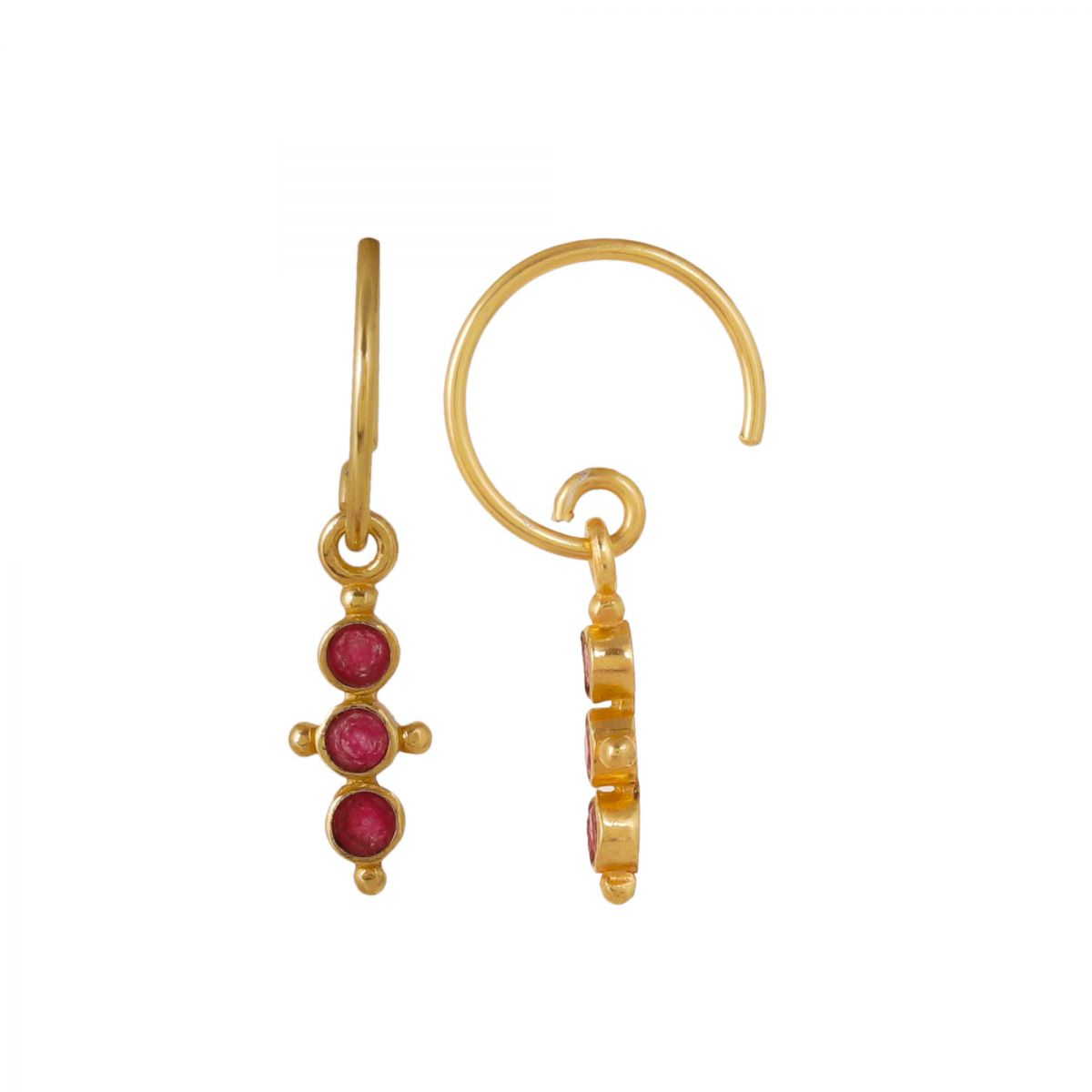 f earring three little hanging ruby stones gold plated