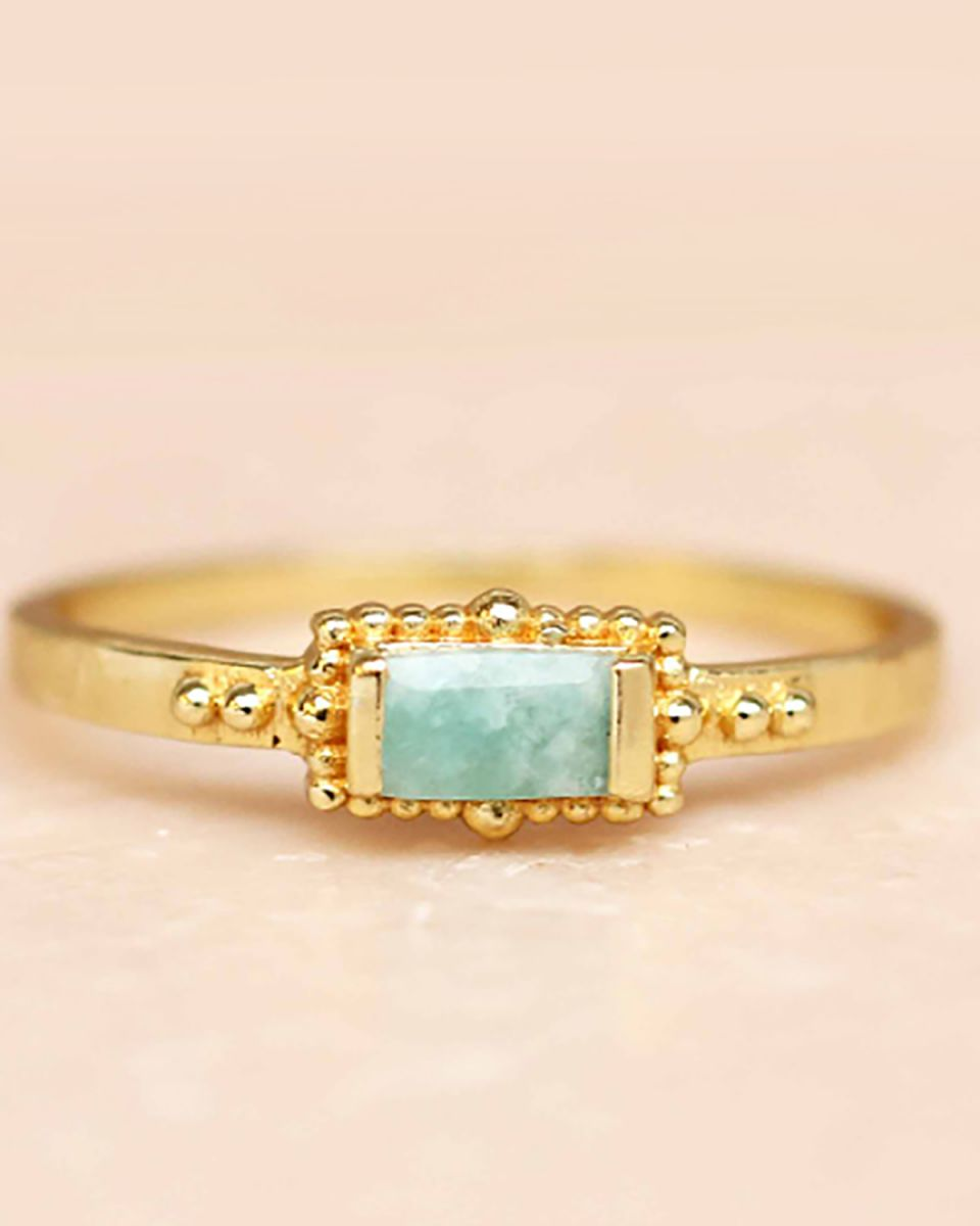 f ring size 52 amazonite horizontal rectangle dots gold pla