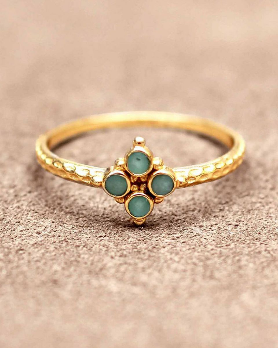 f ring size 52 four 2mm amazonite stones gold plated