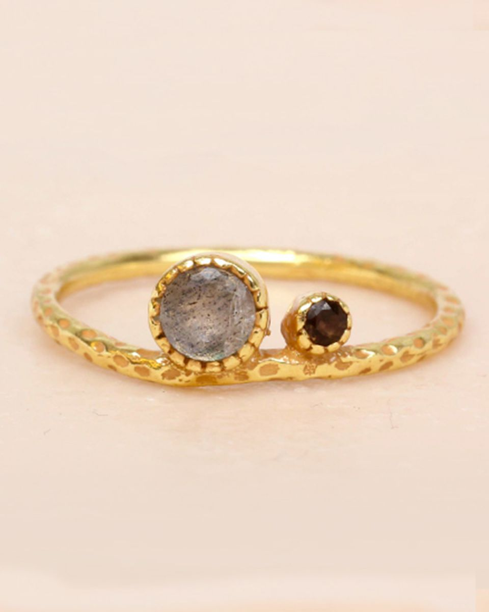 f ring size 52 labradorite and smokey quartz big and small