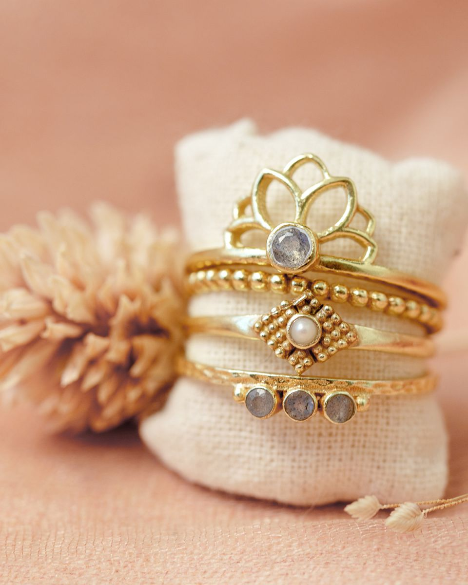 f ring size 52 labradorite lotus gold plated