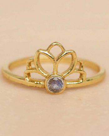 F- ring size 52 labradorite lotus gold plated