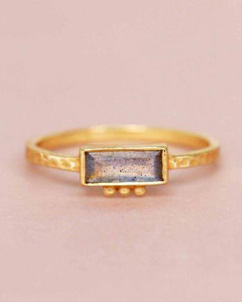F- ring size 52 labradorite rectangle three dots 3x8 gold pl
