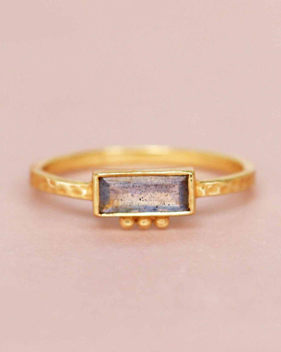 f ring size 52 labradorite rectangle three dots 3x8 gold pl