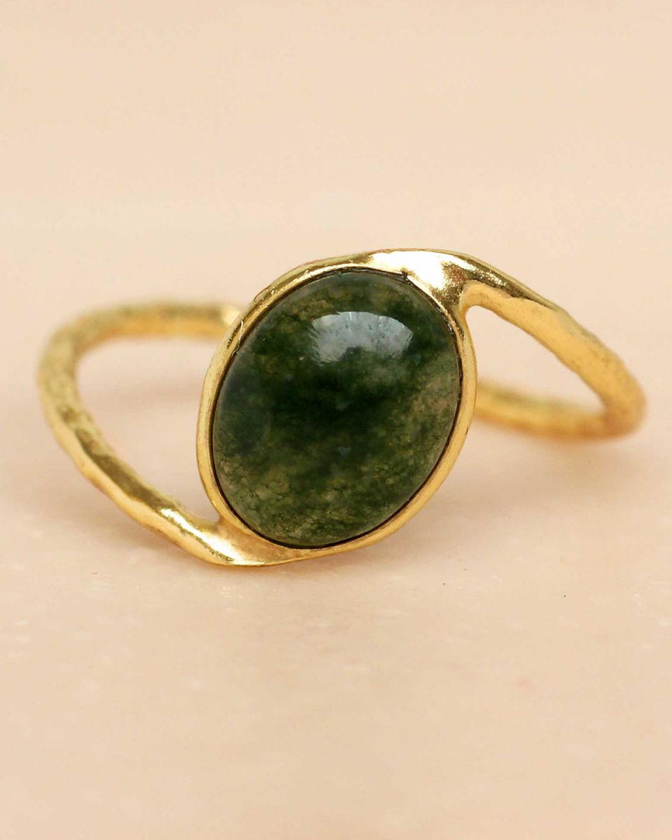 f ring size 52 mos agate oval stone wavy band gold plated