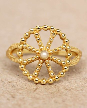 F- ring size 52 white pearl wheel with dots gold plated