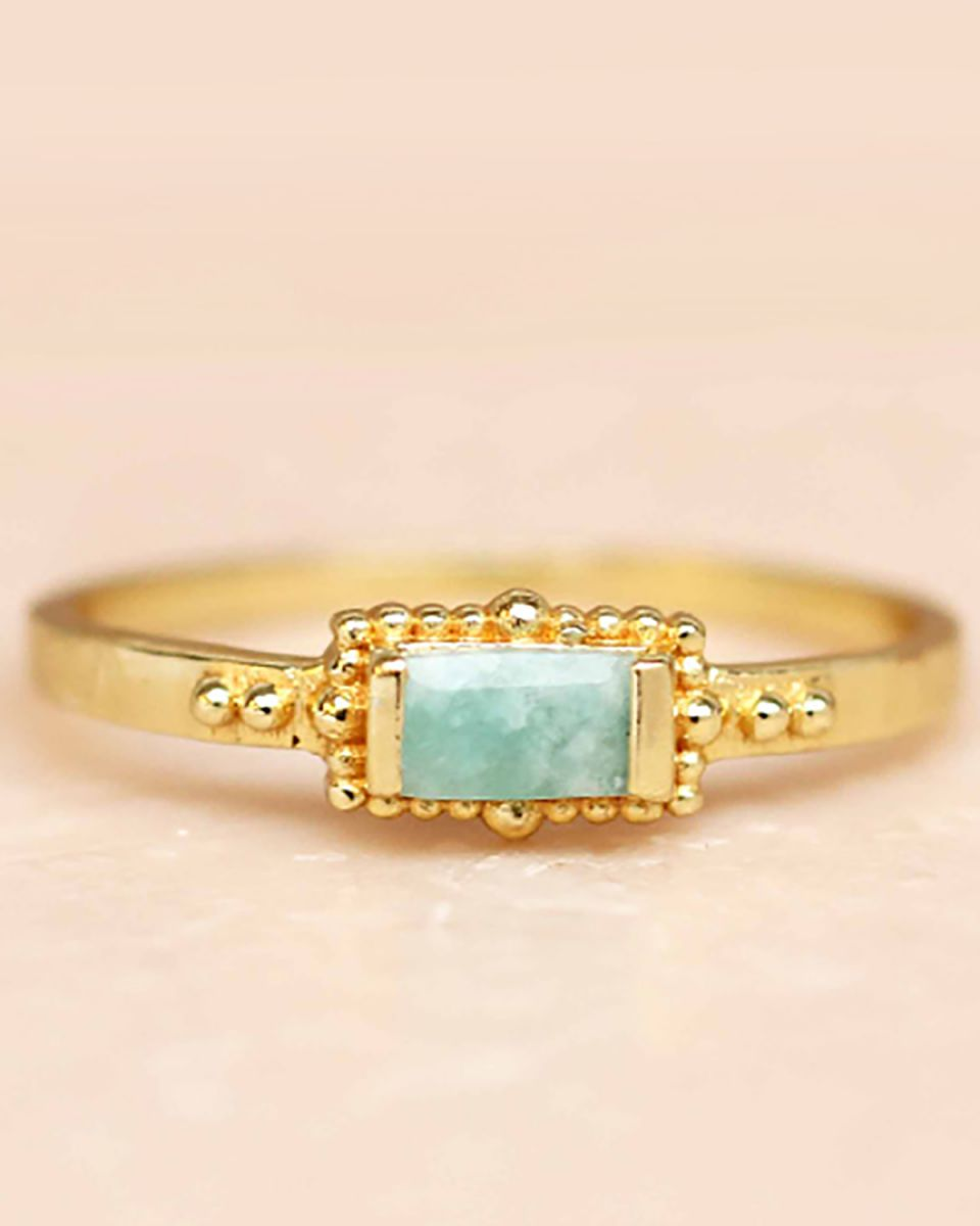 f ring size 54 amazonite horizontal rectangle dots gold pla