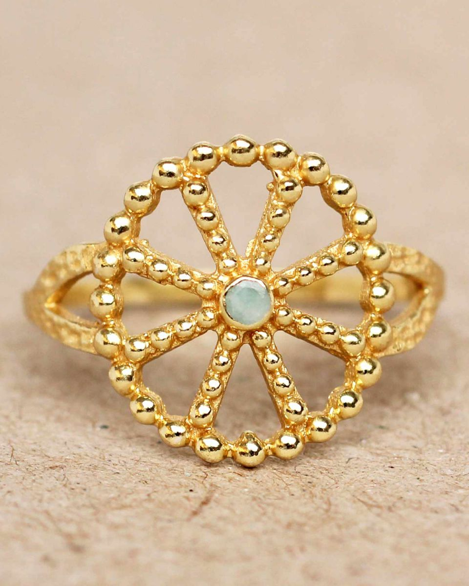 f ring size 54 amazonite wheel with dots gold plated