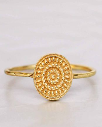 F- ring size 54 big fancy oval gold plated
