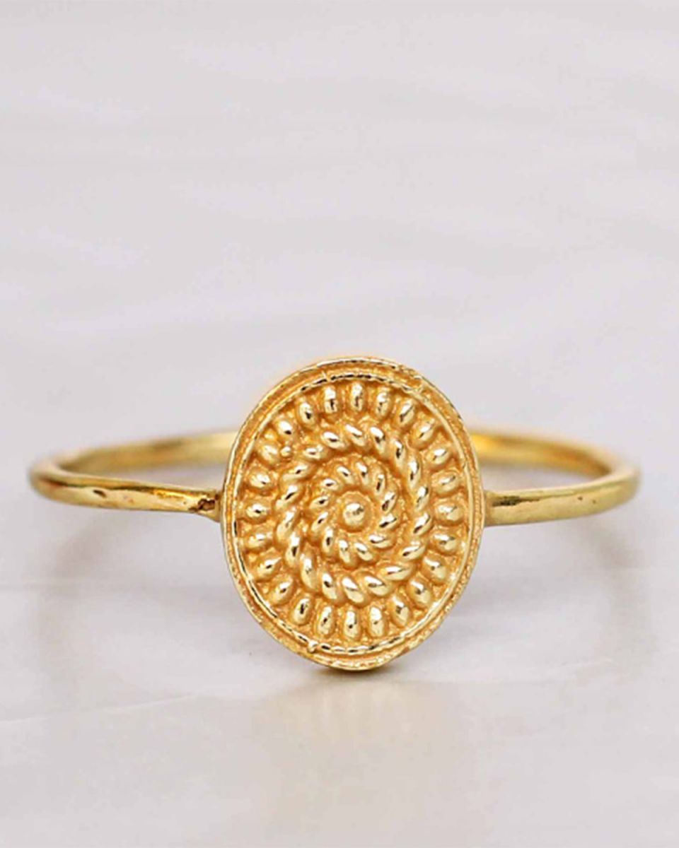 f ring size 54 big fancy oval gold plated