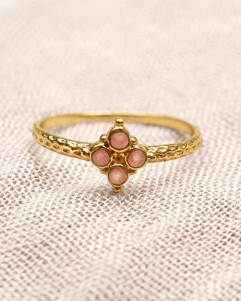 F- ring size 54 four 2mm peach moonstones gold plated