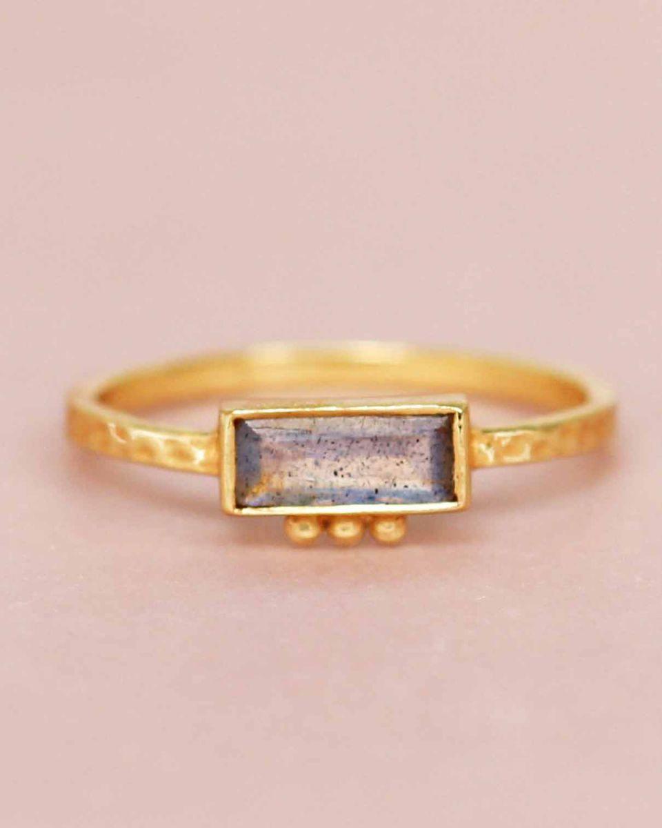 f ring size 54 labradorite rectangle three dots 3x8 gold pl
