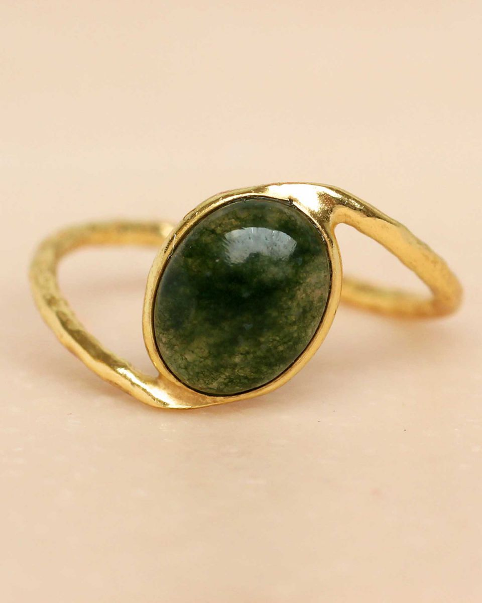 f ring size 54 mos agate oval stone wavy band gold plated