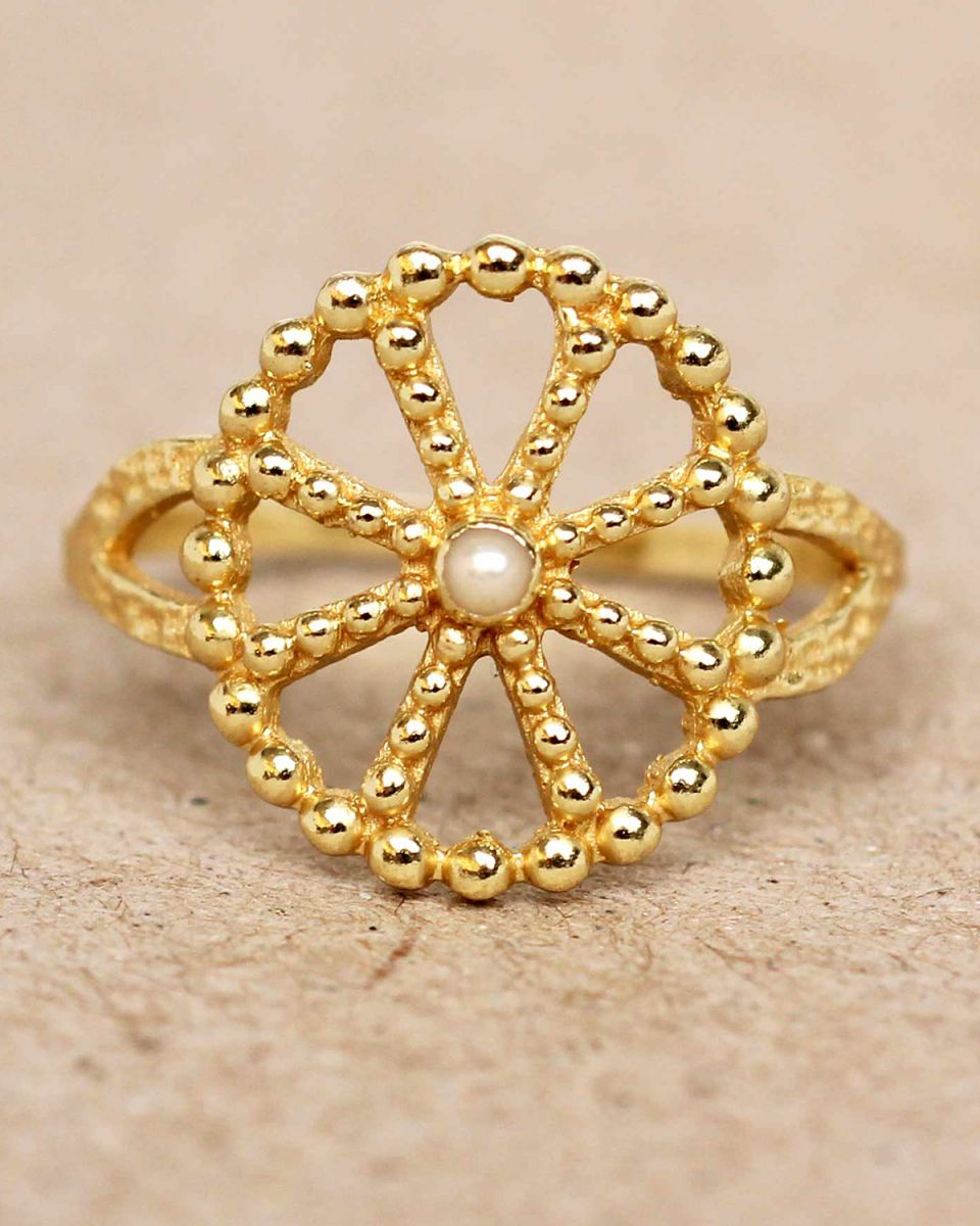f ring size 54 white pearl wheel with dots gold plated