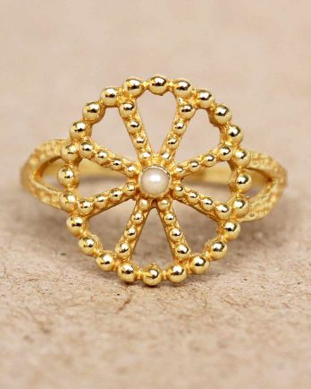 F- ring size 54 white pearl wheel with dots gold plated