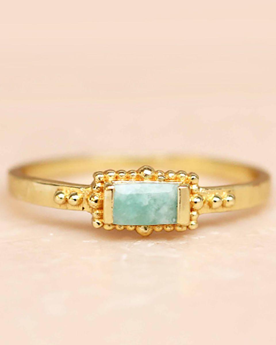 f ring size 56 amazonite horizontal rectangle dots gold pla