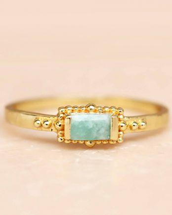 F- ring size 56 amazonite horizontal rectangle dots gold pla
