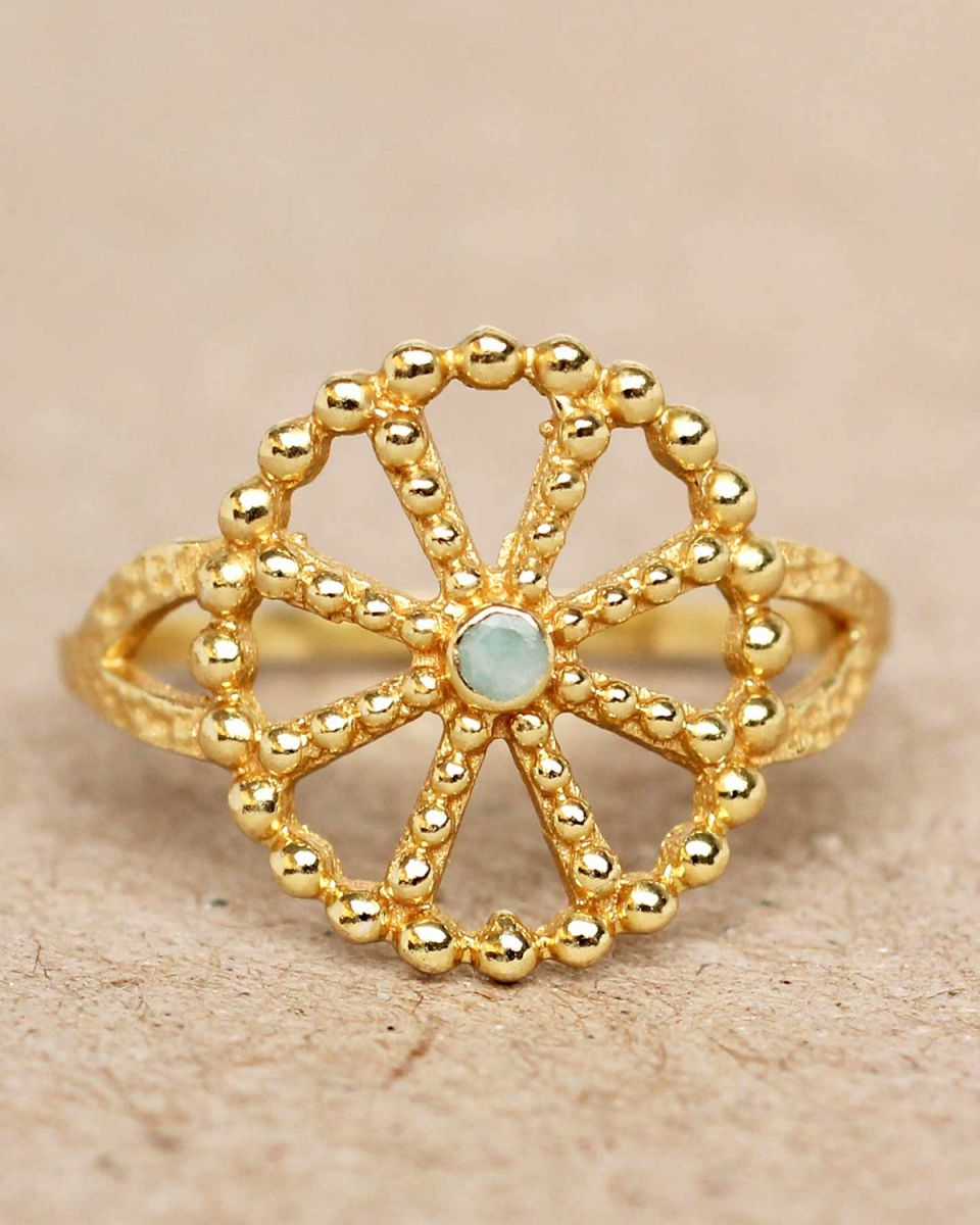 f ring size 56 amazonite wheel with dots gold plated