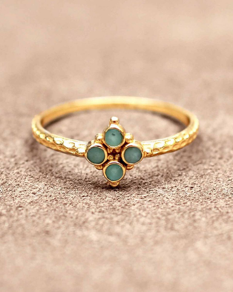 f ring size 56 four 2mm amazonite stones gold plated