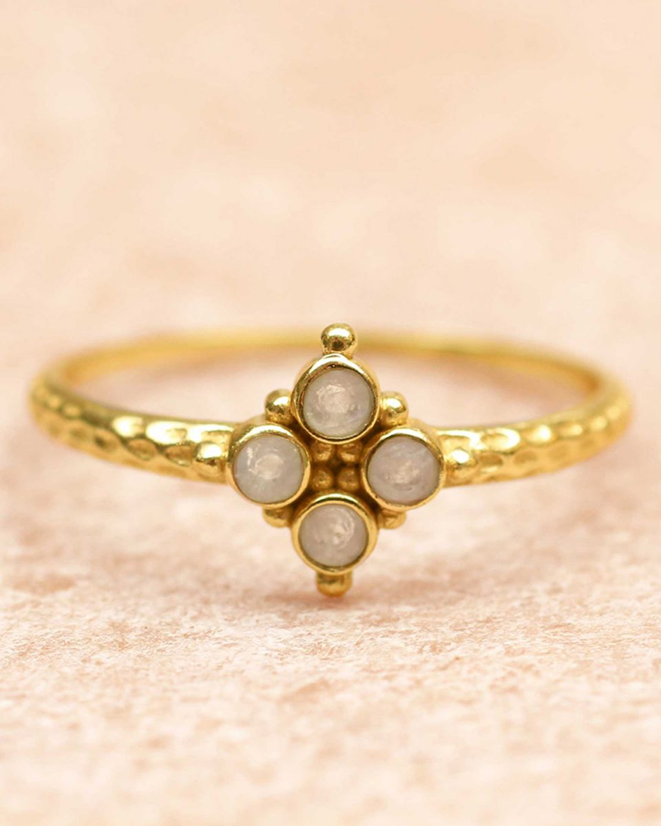 f ring size 56 four 2mm moonstones gold plated