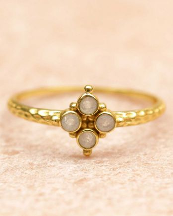 F- ring size 56 four 2mm moonstones gold plated
