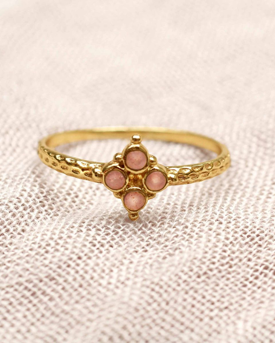 f ring size 56 four 2mm peach moonstones gold plated