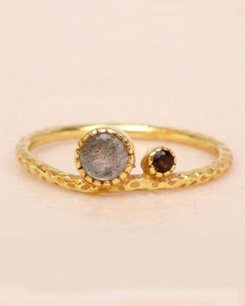 F- ring size 56 labradorite and smokey quartz big and small