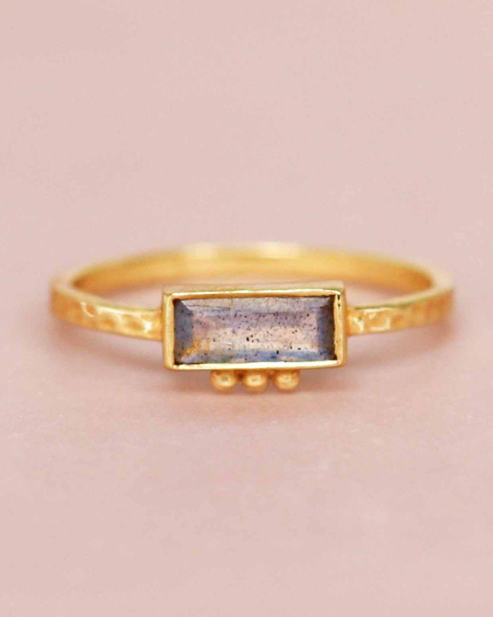 f ring size 56 labradorite rectangle three dots 3x8 gold pl