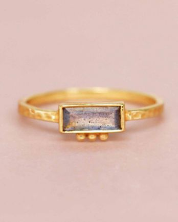 F- ring size 56 labradorite rectangle three dots 3x8 gold pl