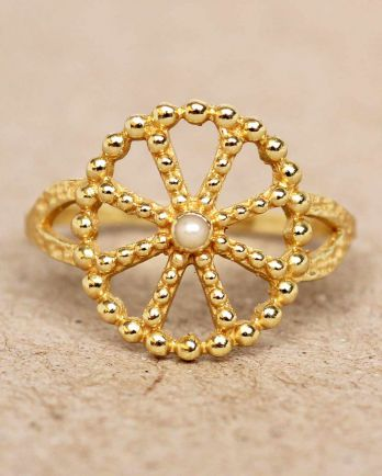 F- ring size 56 white pearl wheel with dots gold plated