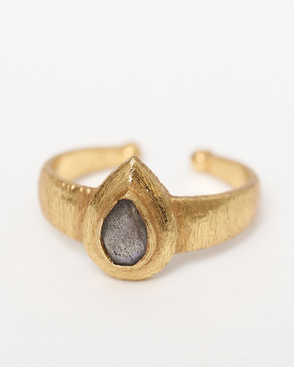 f size 52 drop labradorite ring gold plated